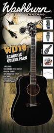 Washburn WD10B Acoustic Guitar Pack - Black komplet